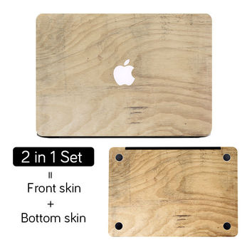"""Wood Texture Cool Top+Bottom Full Cover Skin Laptop Sticker for MacBook Air Pro Retina 11"""" 12"""" 13"""" 15"""" Chrombook Notebook Decal"""