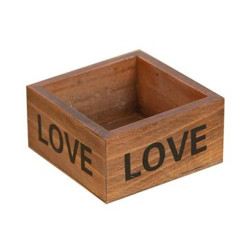 Rustic Natural Wooden Succulent Plant Flower Bed Pot Box Garden Planter PTSP