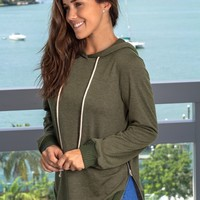 Olive Hoodie with Zipper Detail