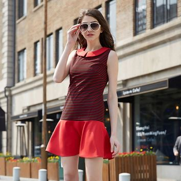 Summer Fit and Flare Striped Dress Ladies Ruffles Patchwork Dress