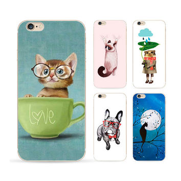 Blue Moon Picture For Apple Iphone 6 Case 6s Cute Kittens Tpu Case Full Hemming Oil Painting Effect Phone Cases