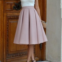 Pink Plain Pleated Skater Flared Vintage High Waisted Knee Length A Type Skate Skirt