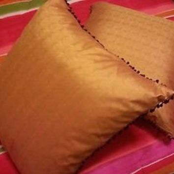 Pier 1 Amber gold beaded fringe decorative pillows