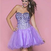 Amethyst & Orchid Ombre Rhinestone & Tulle Strapless Lace Up Plus Size Short Prom Dress - Unique Vintage - Cocktail, Pinup, Holiday & Prom Dresses.
