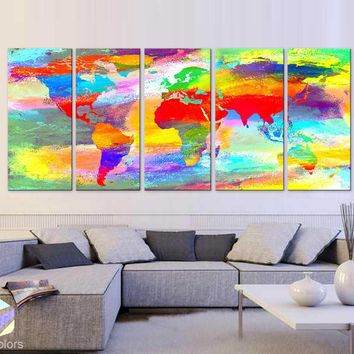 "XLARGE 30""x 70"" 5 Panels 30""x14"" Art Canvas Print Acrylic Texture Original World Map pastels colors Wall Home decor interior (framed 1.5"" depth)"