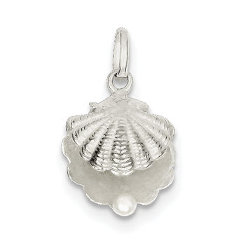 Sterling Silver Seashell with Simulated Pearl Pendant QC7646