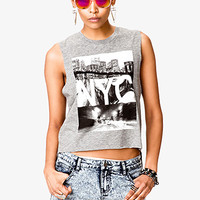 FOREVER 21 NYC Muscle Tee Heather Grey/Black Small
