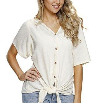 SOLO POP Womens V Neck Button Down T Shirts Short Sleeve Loose Blouse Casual Tops