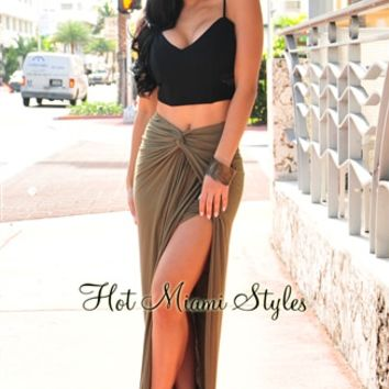 Olive Knotted Front Slit Maxi Skirt