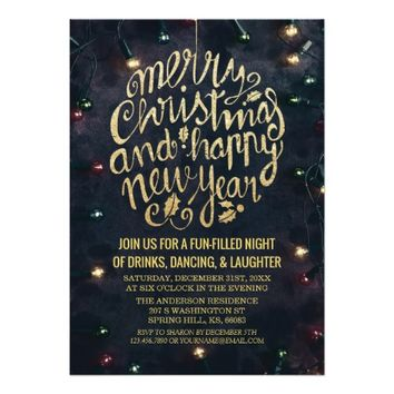 Elegant Black Gold Script Christmas New Year Party Card