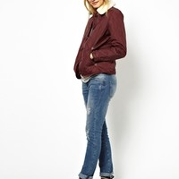 Jack Wills Quilted Jacket With Shearling Collar