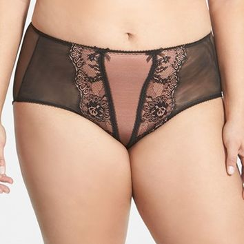 Plus Size Women's Dita Von Teese Lace Trim Briefs