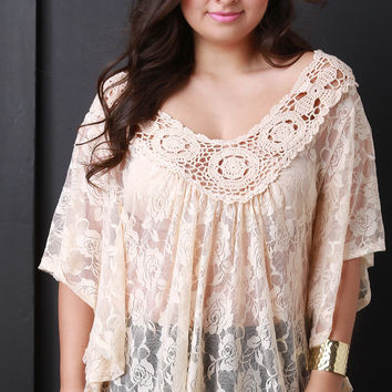 Lace and Crochet Flowy Top