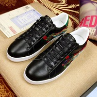 Gucci Fashion Dragon Embroidery Leather Low-top Sneaker