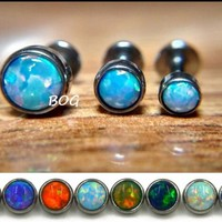 3PC Opal Stone Labret Nose Monroe Madusa Lip Ring Stud