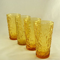 4 Lido 10 Ounce Glasses or Tumblers - Anchor Hocking  - Honey Gold Color - Hard To Find Size.