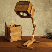 Wooden Desk Table Working Lamp Unique Walnut MADE TO by Paladim