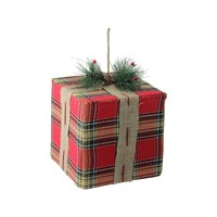 """8.5"""" Holiday Moments Red and Brown Plaid Gift Box Present Christmas Ornament"""
