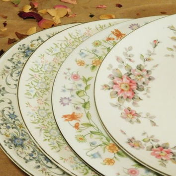 Mismatched China Dinner Plates Floral Pattern