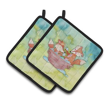 Foxes Bathing Watercolor Pair of Pot Holders BB7350PTHD