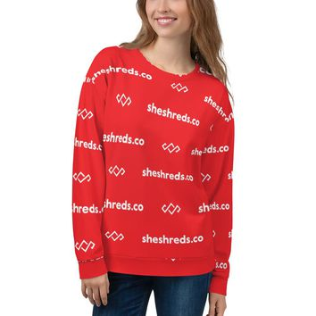 All-Over Print SheShreds Graphic Sweatshirt - Red