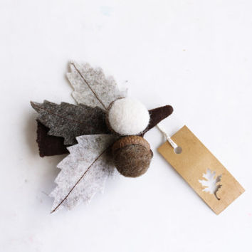 Autumn brooch leaves with acorns in brown tones branch by Intres