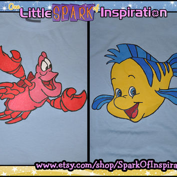 Best Buddies - Little Mermaid Sebastian and Flounder Matching  T-Shirts Commission