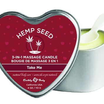 3-In-1 Heart Massage Candle With Hemp - Take Me (4.7 oz.)