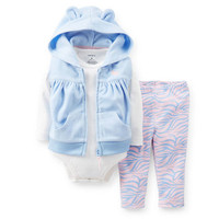 3-Piece Microfleece & Cotton Vest Set