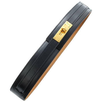 "MINT. Vintage HERMES black box calf leather Kelly belt. Stamp V in O, 1992. size 65. 24"", 25"", and 26""."