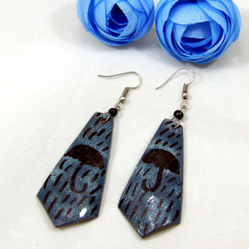Blue and Black Ethnic/African Umbrella Shield Earrings