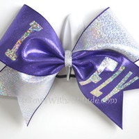 "3"" Wide Luxury Cheer Bow - I Fly Purple Silver Flip Flop"