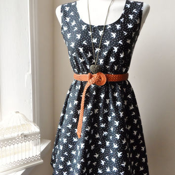 Dress in Black and White with a Cute Bird Print / Handmade / Choose your Size