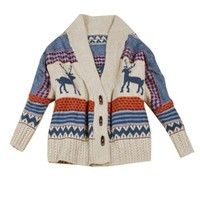 Vobaga Women's Bohemian Tribal Oversized Knit Deer Pattern Sweater Knitwear Cardigan