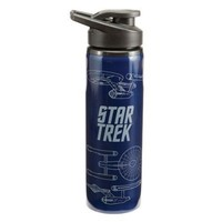 Vandor 80110 Star Trek Enterprise 24 oz Stainless Steel Water Bottle, Blue and White