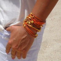 Orange and Gold Leather Bracelet / Necklace