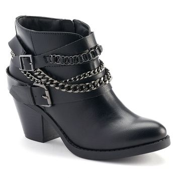 SO Women's Western Heeled Ankle Boots