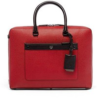 MCM Red Leather Markus Slim Briefcase Bag