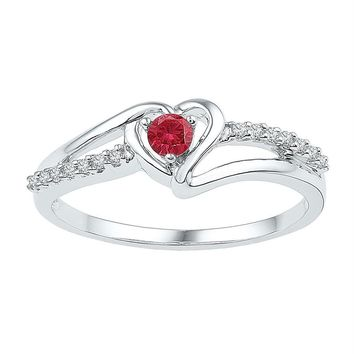 Sterling Silver Women's Round Lab-Created Ruby Solitaire Diamond Heart Ring 1-5 Cttw - FREE Shipping (US/CAN)