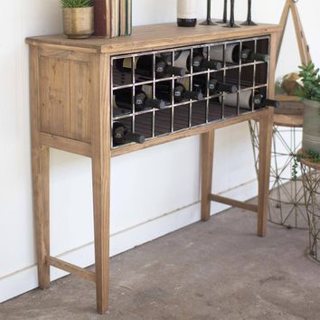 Rustic Wine Rack Console Table