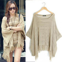 Women's Batwing Bat Sleeve Tassels Knitting Knitwear Top Jumper Poncho Sweater
