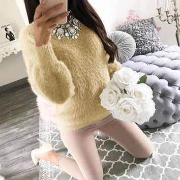 Round Neck Solid Plush Pull-over