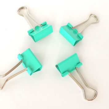 Set of 4 metal binder clips (teal / mint)