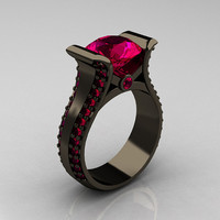 Modern 14K Black Gold 3.0 Carat Ruby Bridal Ring R196-14KBGR