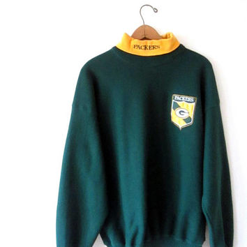 Vintage 1990s GREEN BAY PACKERS Football Embroidered G Crest Turtleneck Sweatshirt Sz L