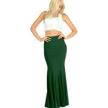 Emerald Mermaid Maxi Skirt