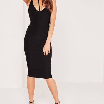 Missguided - Harness Choker Slinky Midi Dress Black