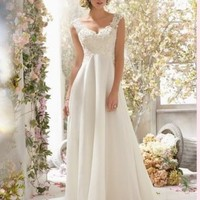 New White/Ivory Chiffon Wedding Dress Bridal Gown Custom Size 2-4-6---18