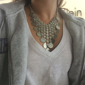 Ancient coin necklace silver gold chain choker necklace Hollow Round Flower statement Necklaces & Pendants jewelry bijoux women
