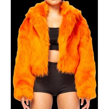 Faux Fur Fuzzy Crop Jacket